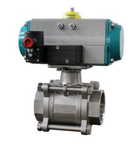 Ball valve with pneumatic rotary actuators double acting and spring return